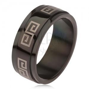 Fényes fekete gyűrű 316L acélból, kidomborodó sáv görög kulcs mmintával