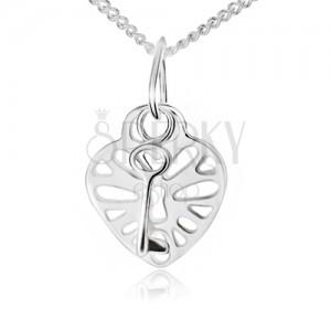 Nyaklánc 925 ezüstből, kivágott szív alakú lakat és kulcs