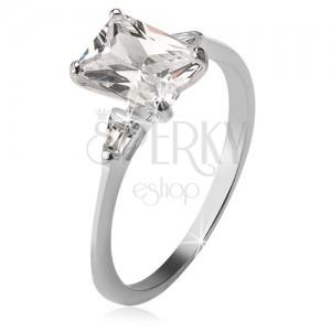 925 ezüst gyűrű, egy téglalap és két háromszög alakú kő
