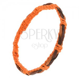 Karkötő narancs színű zsinórokból, barna-fekete fonat a felületén