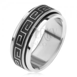 Acél gyűrű, forgatható karika görög kulccsal, patináns