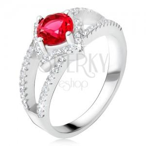 Gyűrű kettévált szárakkal, piros kő, négyzet, 925 ezüst