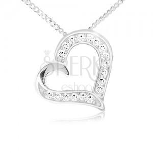 Nyaklánc - lánc és medál szív körvonallal, átlátszó cirkóniák, 925 ezüst