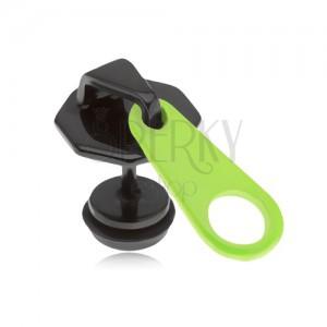 Fekete, fake plug fülbe, acélból, zippzár, neonsárga nyelvecske, PVD