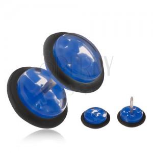 Hamis plug fülbe, átlátszó, akryl kerekek, kék törmelékekkel