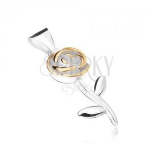 Medál 925 ezüstből, rózsa virág szirmokkal, arany színben