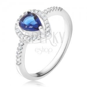 Gyűrű - sötétkék könnycsepp alakú kő, átlátszó cirkóniák, 925 ezüst