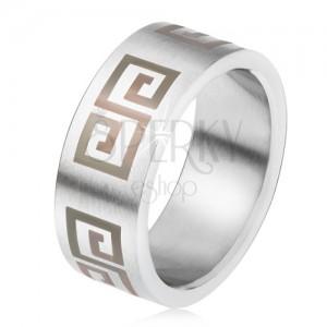 Matt acél karikagyűrű, egyenes felszín, szürke görög kulcs