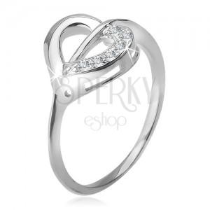 Gyűrű 925 ezüstből, szívkörvonal átlátszó és cirkóniás felekkel