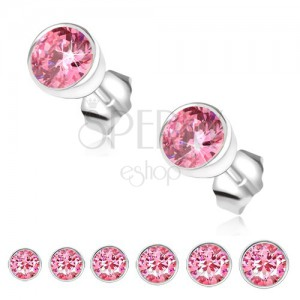 Fülbevaló 925 ezüstből, rózsaszín cirkónia kerek foglalatban