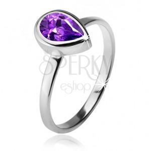 Gyűrű lila, könnycsepp alakú kővel foglalatban, 925 ezüst