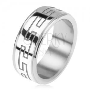 Acél gyűrű, tükörfény, süllyesztett szélek, görög kulcs