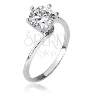 Gyűrű 925 ezüstből, szűkülő hajlított szárak, kerek, átlátszó cirkónia