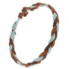 Hármasfonattal fonott karkötő, mogyoró, csokoládé és kék zsinórok