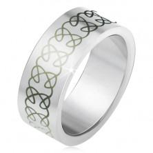 Matt acél karikagyűrű, csavart és egymást metsző minta