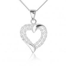 Ezüst nyakék 925 - szívkörvonal cirkóniás vonallal, lánc