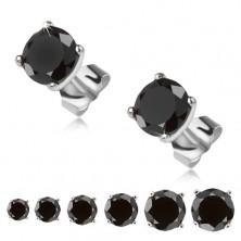 Fülbevaló 925 ezüstből, fekete kerek kő a foglalata