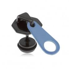 Fake plug fülbe, acélból, fekete-kék zippzár, PVD kezelés