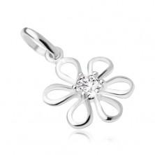 Virág, átlátszó, kerek zirkóniával középen, medál 925 ezüstből