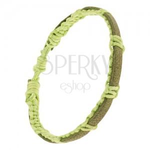 Neonzöld zsinóros karkötő, fonat, zöldesbarna bőr sáv