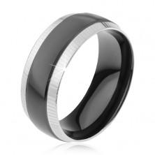Gyűrű 316L acélból, rovátkolt szélső sávok, fényes fekete sáv