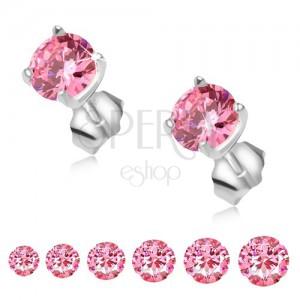 Bedugós fülbevaló 925 ezüstből, kerek, rózsaszín kő