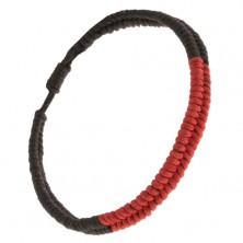 Karkötő fonott madzagokból, fekete és piros sáv