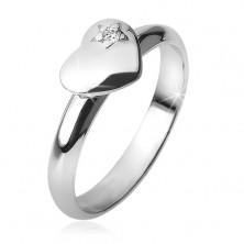 Gyűrű kidomborodó egyenletes szívvel, csillag, cirkónia, 925 ezüst