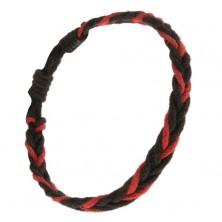 Fonott karkötő, fekete és piros madzagokból
