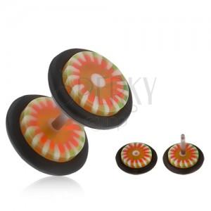 Hamis, akryl plug fülbe, narancs-zöld virág, fehér sugarak