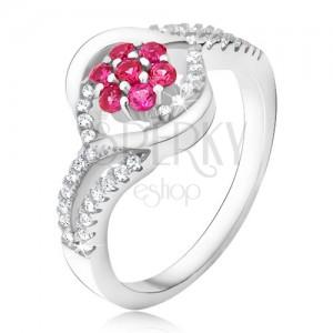 Gyűrű 925 ezüstből, rózsaszín cirkóniás virág, ajak