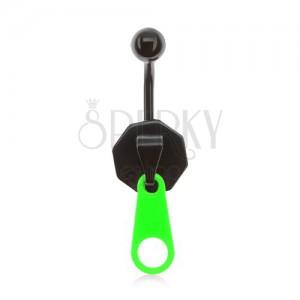 Acél köldökpiercing, fekete-zöld zippzár