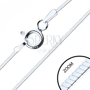 925 ezüst nyaklánc, fényes négyszögletes kígyó, 1 mm