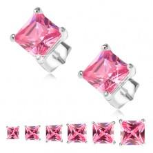 Beszúrós fülbevaló, 925 ezüst, rózsaszín négyzetes cirkónia