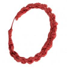 Piros karkötő fonott fonalakból, kerek minta