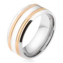 Karikagyűrű 316L acélból, két vésett sáv arany színben