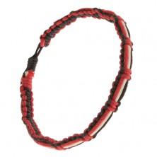 Fekete-piros karkötő, fehér, fekete és piros zsinórok a felszínen