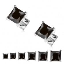 Beszúrós fülbevaló, 925 ezüst, fekete négyzetes cirkónia