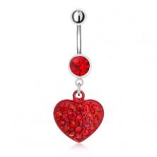Acél köldökpiercing, piros kő és cirkóniás szív