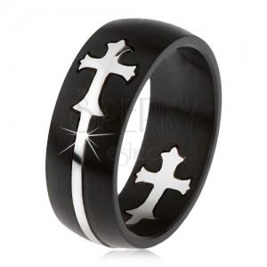 Matt, fekete, acél gyűrű, kivágott kereszt, ezüst színben