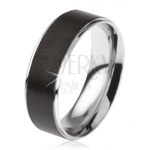 Acél karikagyűrű, kiálló fekete szatén sáv
