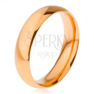 Sima, fényes gyűrű 316L acélból, aranyozott