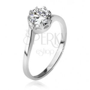 925 ezüst gyűrű, átlátszó, kerek cirkónia foglalatban