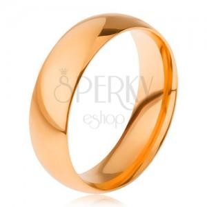 Sima, fényes gyűrű 316L acélból, aranyozott, 6 mm
