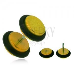 Hamis plug fülbe, akrylból, fényes, sárga kerekek