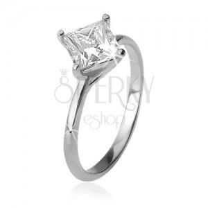 Gyűrű négyzetes cirkóniával, tekert pálcikákon, 925 ezüst
