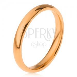 Aranyozott acél gyűrű, sima fényes felszín, 3 mm