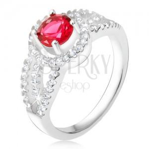 Gyűrű 925 ezüstből, piros kő cirkóniás kerettel, kerek vonalak