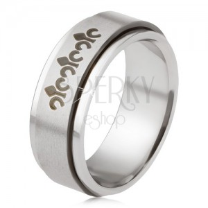 Acél gyűrű, matt, forgatható karika, kelta szimbólumok