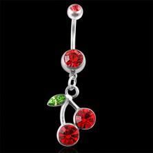 Köldök piercing cseresznye alakú medál cirkóniával